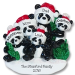 Panda Bear Family of 5<br>RESIN Personalized Family Ornament