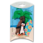 Petey Penguin with Surfboard Personalized Ornament - in Custom Gift Box