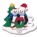 Petey Penguin Family / Couple with Face Masks Covid-19 Pandemic Personalized Ornament