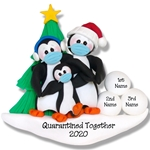 Petey Penguin Family of 3 with Face Masks Covid-19 Pandemic Personalized Ornament