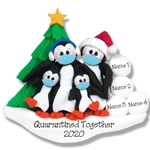 Petey Penguin Family of 4 with Face Masks Covid-19 Pandemic Personalized Ornament