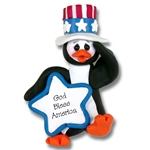 Patriotic Petey Penguin Personalized Christmas Ornament Limited Edition