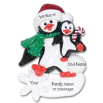 Petey & Polly Penguin Single Parent/Grandparent Ornament-1 Child RESIN