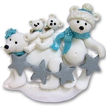 Polar Bear Family of 4<br>Personalized Ornament