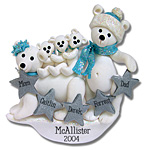 Polar Bear Family of 5<br>Personalized Ornament