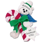 Polar Bear w/Candy Cane Personalized Christmas Ornament
