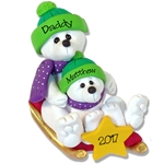 Polar Bear Parent and Child on Sled Personalized Family  Ornament - Limited Edition