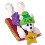 Polar Bear on Sled Personalized Ornament  - Limited Edition