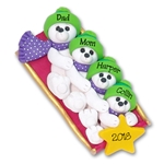 Polar Bear Family of 4 on Sled Personalized Family  Ornament 2- Limited Edition