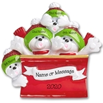 Polar Bear Family of 4 in Sleigh / Toboggan Personalized Ornament
