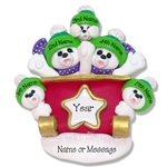Polar Bear Family of 5 Personalized Ornament - Limited Edition