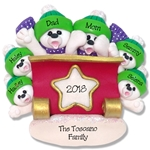 Polar Bear Family of 6 in Sleigh Personalized Ornament - Limited Edition