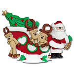 3 Reindeer in Sled<br>Personalized Family Ornament