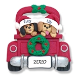 Two Puppy Dogs in Red Pickup Truck Personalized Ornament - Limited Edition