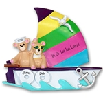 Sailboat w/2 Bears<br>Personalized Family Ornament<br>RESIN