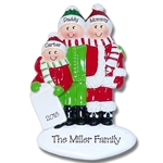 Family Ornament of 3 Fun in the Snow Personalized Christmas Ornament