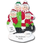 Family Ornament of 4 Fun in the Snow Personalized Christmas Ornament