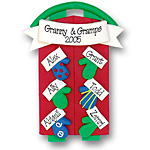 Sled w/6 Mittens<br>Personalized Family Ornament