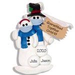 Covid-19 Corona Virus Pandemic Snowman Couple w/Face Masks