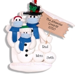 Covid-19 Corona Virus Snowman Family of 3 w/Face Masks Pandemic Ornament