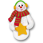 Snowman w/Star Personalized Christmas Ornament