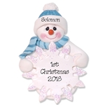 Snowman  Baby's 1st Christmas Ornament for Boy - Custom Ornaments