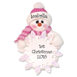 Snowman  Baby's 1st Christmas Ornament for Girl- Custom Ornaments