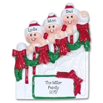 Family of 3 on Staircase Personalized Family Ornament