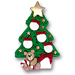 Christmas Tree w/4 Ornaments<br>Personalized Family Ornament