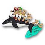 Whale w/5 Bears<br>Personalized Family Ornament