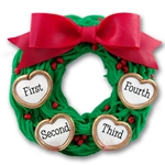 Wreath w/4 Hearts<br>Personalized Family Ornament