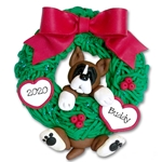 Boxer Hanging in Wreath Personalized Dog Ornament - Limited Edition