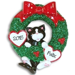 Black &amp; White Tuxedo Kitty<br>Hanging in Wreath<br>Personalized Cat Ornament
