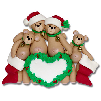 Belly Bear Family of 4<br>Personalized Family Ornament