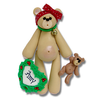 Belly Bear Girl w/Heart<br>Personalized Ornament