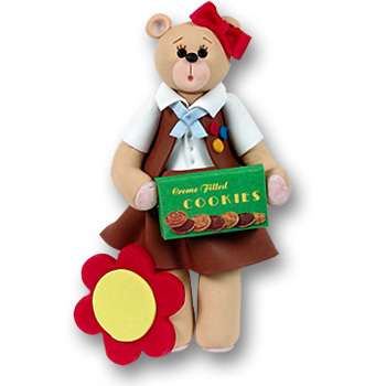 Belly Bear Brownette Personalized Christmas Ornament