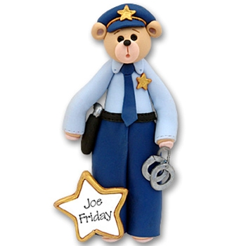 Belly Bear Policeman<br>Personalized Ornament