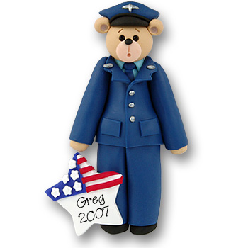 Airforce Belly Bear Personalized Ornament - Limited Edition