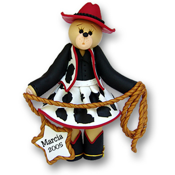 Belly Bear Cowgirl Personalized Ornament - Custom Ornaments