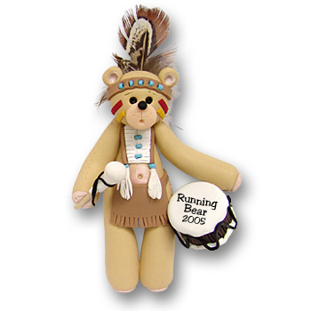 Belly Bear Indian Brave Personalized Ornament - Custom Ornament