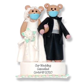 Covid-19 Bride & Groom Pandemic / Cornavirus Handmade Polymer Clay Personalized WEDDING Cancelled Ornament with Face Masks