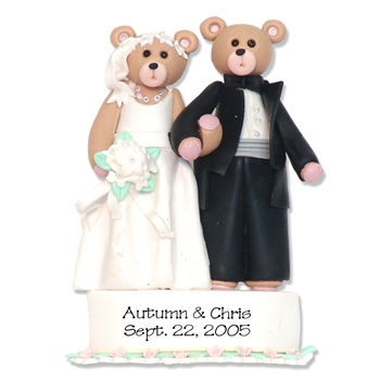 Bride & Groom Belly Bear<br>Personalized Wedding<br>Ornament