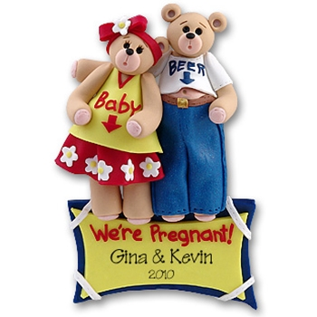 Belly Bear<br>Pregnant Couple<br>Personalized Ornament