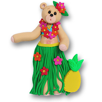 Hulabell Belly Bear Personalized Hula Ornament