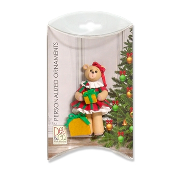 Christmas Belly Bear Girl Personalized Ornament in Custom Gift Box