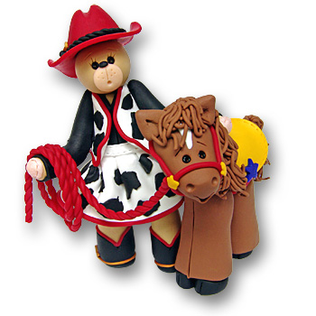 Belly Bear Cowgirl &<br>Horse Figurine