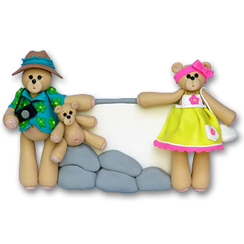 Belly Bear Vacation Family of 3 Personalized Family Ornament