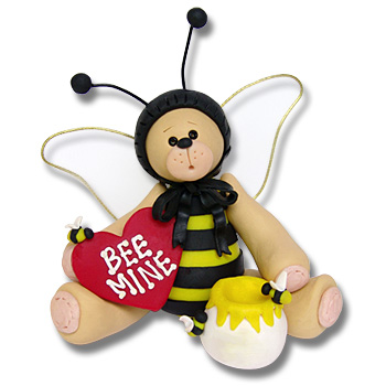 Belly Bear Bee<br>Personalized Valentine<br>Ornament