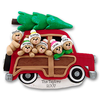 Belly Bear Family of 6<br>in Woody Wagon<br>Personalized Family Ornament