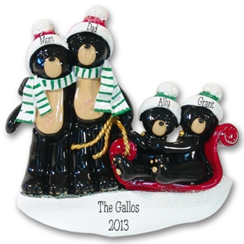Black Bear Family of 4 on Sled RESIN Family Ornament